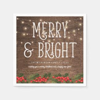 Serviettes Jetables Joyeux et lumineux Noël de pays rustique