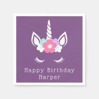 Serviettes Jetables Joyeux licorne magique de l'anniversaire  