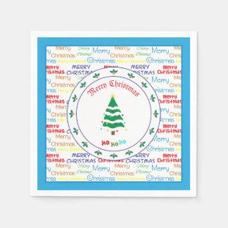 Serviettes Jetables Joyeux Noël et arbre de Noël