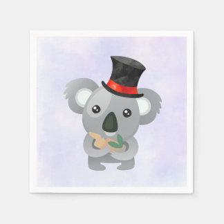 Serviettes Jetables Koala mignon dans un casquette supérieur noir