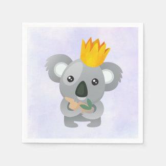 Serviettes Jetables Koala mignon dans une couronne d'or