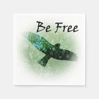 Serviettes Jetables La corneille montante d'oiseau vert d'arbres de
