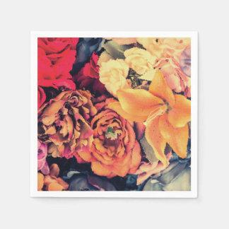 Serviettes Jetables L'automne de mosaïque fleurit des serviettes