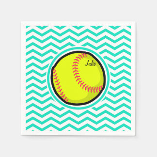 Serviettes Jetables Le base-ball ; Aqua Chevron vert