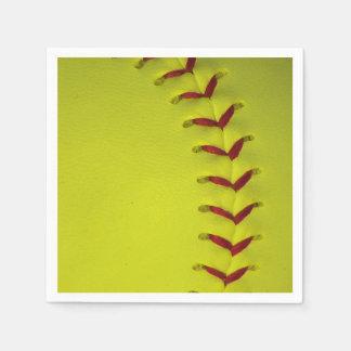 Serviettes Jetables Le base-ball jaune au néon