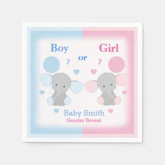 Serviettes Jetables Le genre indiquent l'éléphant de baby shower