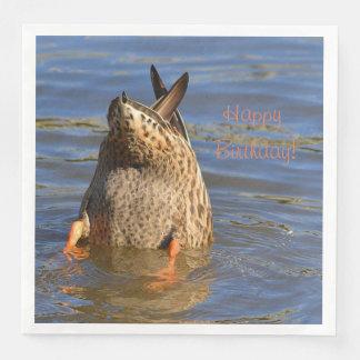 Serviettes Jetables Le joyeux anniversaire base vers le haut du canard