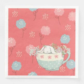 Serviettes Jetables Le lapin orange et bleu dans une tasse de thé