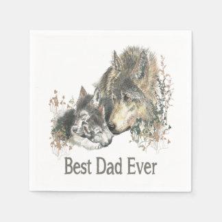 Serviettes Jetables Le meilleur animal d'aquarelle de loup de papa