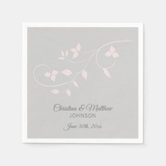 Serviettes Jetables Le pastel élégant rougissent mariage (gris) de
