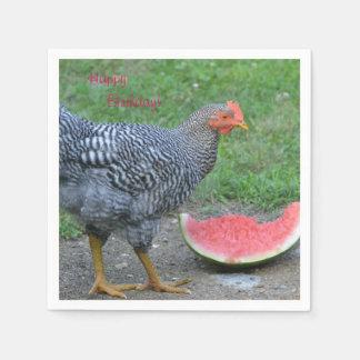 Serviettes Jetables Le poulet de joyeux anniversaire aime la pastèque