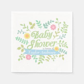 Serviettes Jetables Le ressort élégant part du baby shower floral de