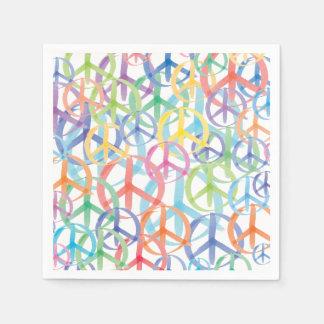 Serviettes Jetables Les nombreuses couleurs des signes de paix
