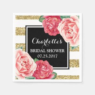 Serviettes Jetables L'or noir barre la douche nuptiale de fleurs roses