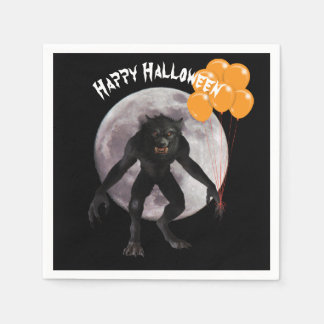 Serviettes Jetables Loup-garou de Halloween avec des ballons