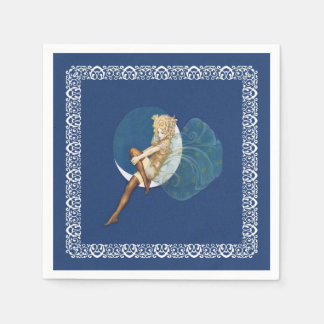 Serviettes Jetables Lune bleue de bas féeriques assez bleus de cru