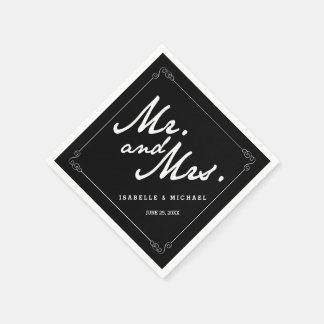 Serviettes Jetables M. classique et Mme noirs et blancs Wedding