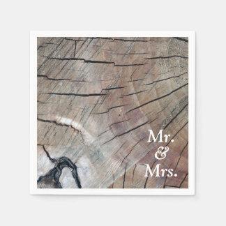 Serviettes Jetables M. et Mme en bois rustiques serviette de papier de