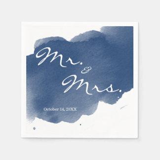 Serviettes Jetables M. Mme serviette d'aquarelle de bleu marine de