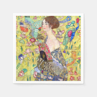 Serviettes Jetables Madame With Fan Painting