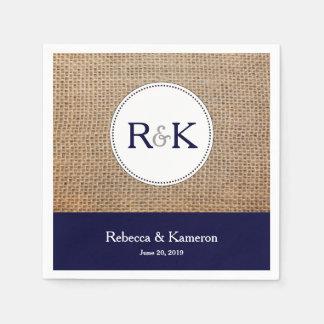 Serviettes Jetables Mariage décoré d'un monogramme de bleu marine de