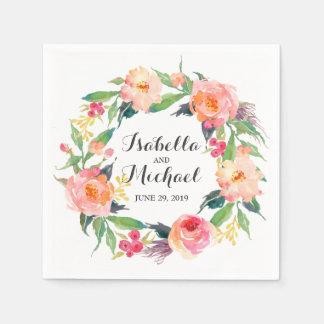 Serviettes Jetables Mariage floral d'aquarelle chic