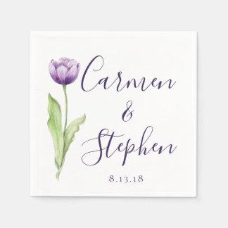 Serviettes Jetables Mariage simple mauve-foncé minimaliste de tulipe