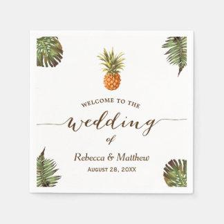 Serviettes Jetables Mariage tropical d'été d'ananas de feuille