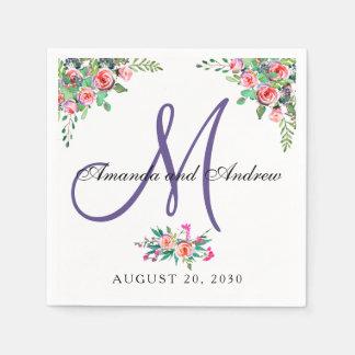Serviettes Jetables Mariage ultra-violet floral chic de monogramme