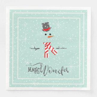 Serviettes Jetables Menthe ID440 de bonhomme de neige de Noël de magie