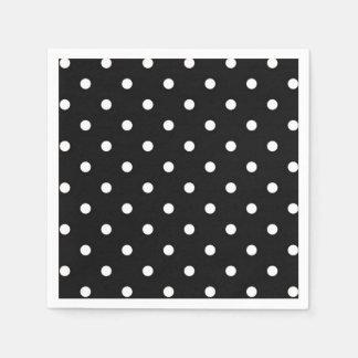 Serviettes Jetables Mode moderne noire et blanche de point de polka
