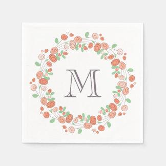 Serviettes Jetables monogramme de corail de guirlande de roses