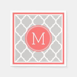 Serviettes Jetables Monogramme gris et de corail de mariage de