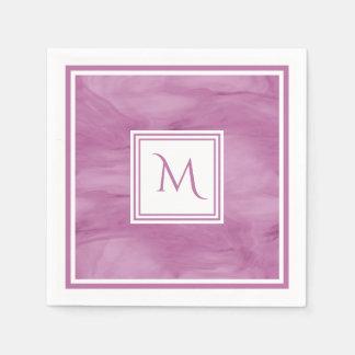 Serviettes Jetables Monogramme moderne de marbre subtil mauve-clair