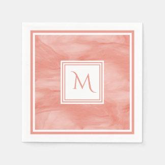 Serviettes Jetables Monogramme moderne de marbre subtil rose de corail