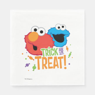 Serviettes Jetables Monstre de biscuit et Elmo - des bonbons ou un