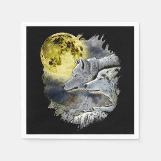 Serviettes Jetables Montagne de lune de loup d'imaginaire