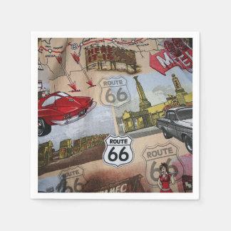Serviettes Jetables Motif coloré de collage de l'itinéraire 66