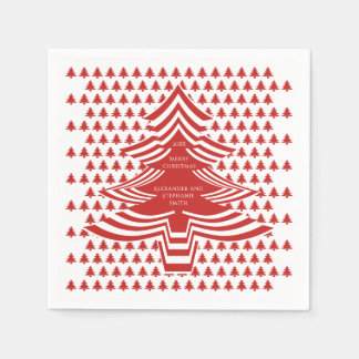 Serviettes Jetables Motif d'arbre de police d'image Noël rouge/blanc