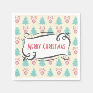 Serviettes Jetables Motif de Joyeux Noël avec des babioles et des arcs
