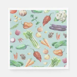 Serviettes Jetables Motif de légume et d'épices d'aquarelle