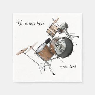 Serviettes Jetables Musicien de bande réglé de tambour de batteur de