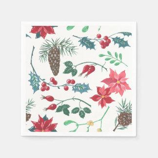 Serviettes Jetables Noël botanique traditionnel (blanc)