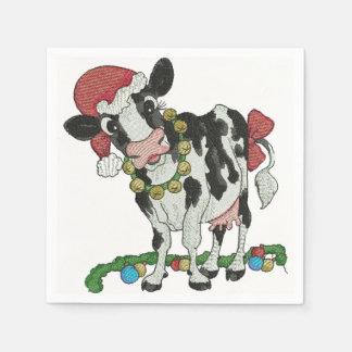 Serviettes Jetables Noël de Mooey ! Serviettes Vache-Orientées de Noël
