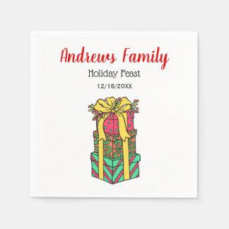 Serviettes Jetables Noël enveloppé empilé de cadeaux de Noël