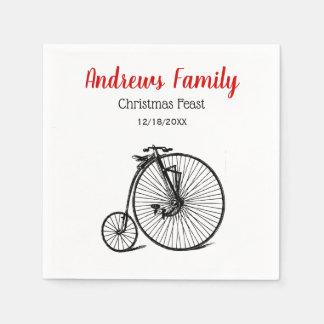 Serviettes Jetables Noël vintage de vélo de bicyclette de vélo sur