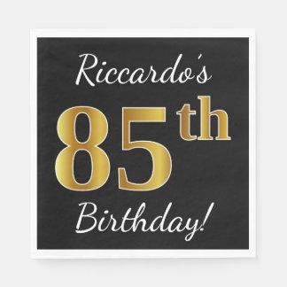 Serviettes Jetables Noir, anniversaire d'or de Faux 85th + Nom fait