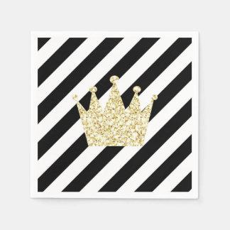 Serviettes Jetables Noir et prince Crown Napkins d'or