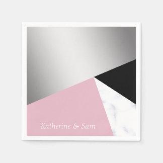 Serviettes Jetables Noir rose de marbre blanc argenté géométrique