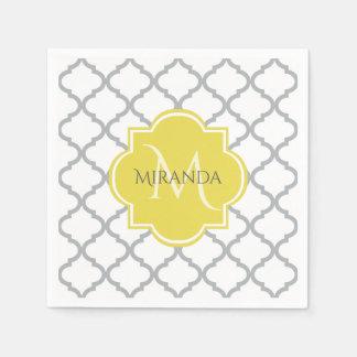 Serviettes Jetables Nom décoré d'un monogramme jaune gris blanc chic